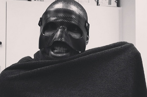 Bosh Tries on LeBron's Black Mask