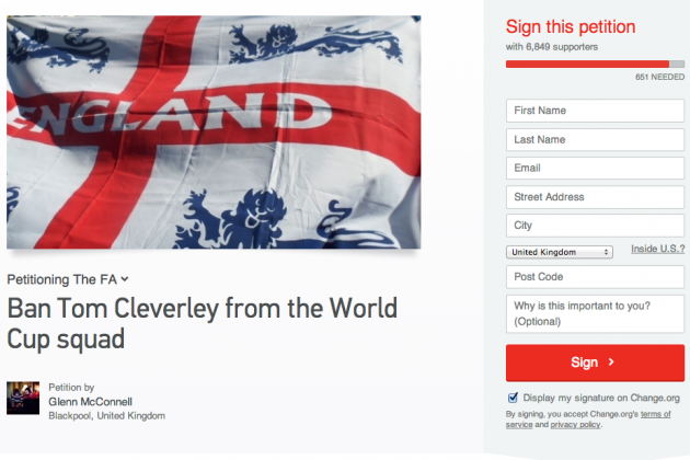 England Fans Petition for Tom Cleverley Not to Go to World Cup 2014