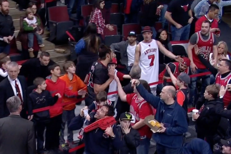 Fan Seen Wearing Backward Carmelo Anthony Bulls Jersey During Game vs. Knicks
