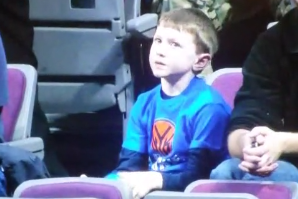 Kid Learning How to Be New York Knicks Fan Early in Life