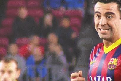 GIF: Xavi's Reaction to Lionel Messi's Free-Kick vs. Almeria Was Pretty Great