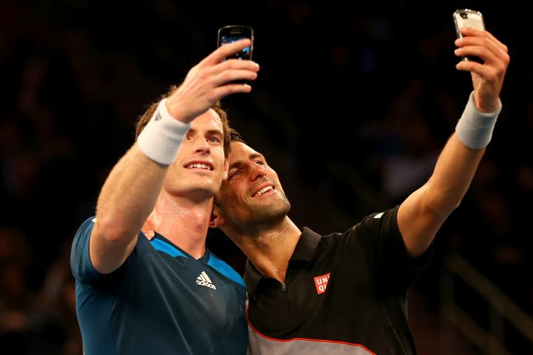 Novak Djokovic and Andy Murray Take Selfies on Court at Madison Square Garden