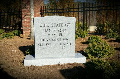 State to Graveyard  Clemson Honor to Tombstone Adds Ohio
