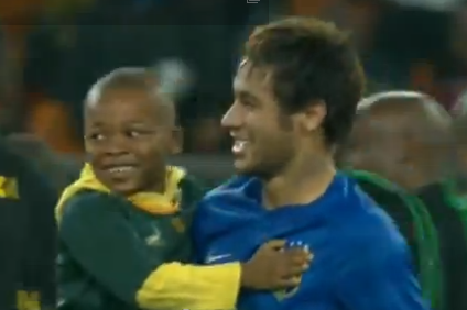 Brazil Embrace Young South African Pitch Invader, Cuteness Ensues