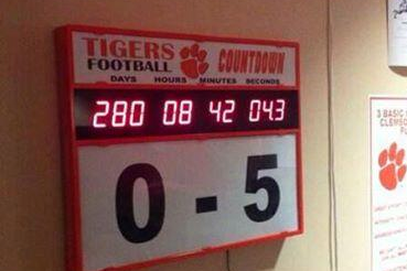 "Photo: Clemson's Countdown Clock for South Carolina Reads ""0-5″"