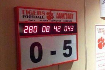 "Photo: Clemson's Countdown Clock for South Carolina Reads ""0-5″"