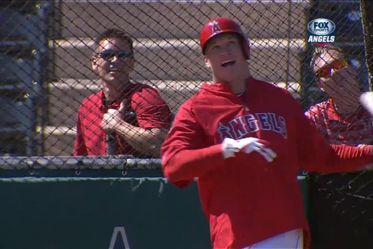 Brian Urlacher Takes Part in Los Angeles Angels Batting Practice