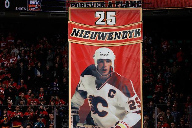 Video: Flames Great Joe Nieuwendyk Has No. 25 Raised to Rafters at Saddledome