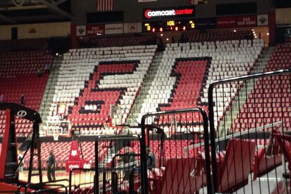 Photo: Maryland Puts '61′ in Student Wall in Honor of 61 Years in the ACC