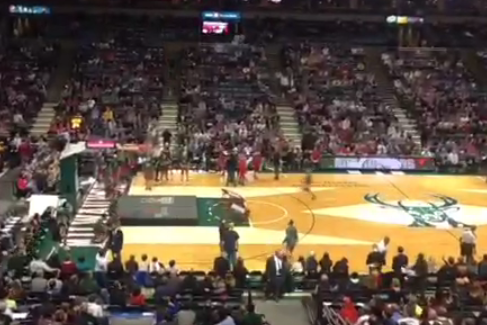 Milwaukee Bucks Have Crazy Alley-Oop from Stands During Intermission