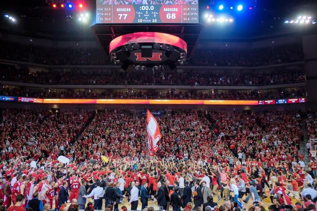 Video: Nebraska Fans Storm Court After Huskers Defeat No. 9 Wisconsin