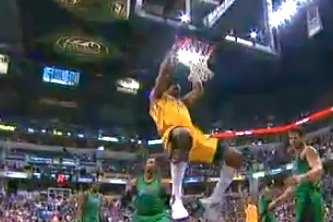 Andrew Bynum Dunks in His Indiana Pacers Debut