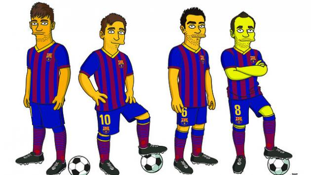 FC Barcelona Get 'Simpsons' Treatment: Messi, Xavi, Iniesta and Neymar Featured
