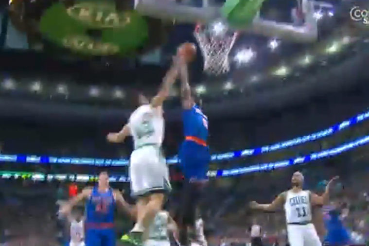Boston's Kris Humphries Comes from Behind to Stuff Tim Hardaway Jr.'s Dunk