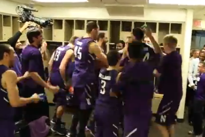 Video: NW's Locker Room Celebration Features Soaking Wet Collins