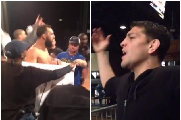 Nick Diaz Heckles Johny Hendricks During Successful Second Weigh-in Attempt