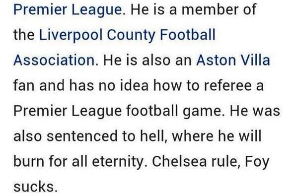 Chris Foy's Wikipedia Page Hacked After Sending off 2 Chelsea Players