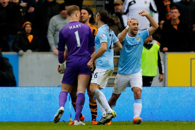 Joe Hart and George Boyd Clash During Hull City vs. Manchester City