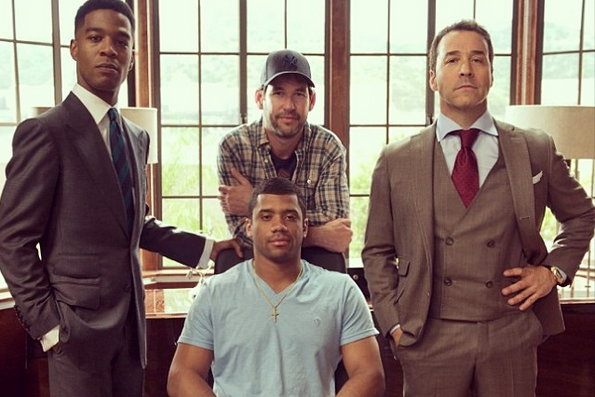 Russell Wilson and Tom Brady Spotted on the Set of the 'Entourage' Movie