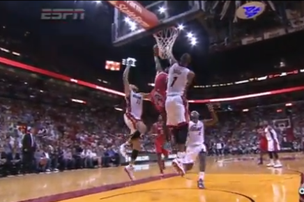 Patrick Beverley Jams Huge Dunk over Chris Bosh vs. Miami Heat