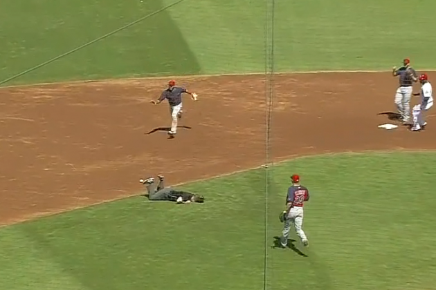 MLB Umpire Carted off the Field After Taking a Line Drive Below the Belt