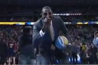 Dikembe Mutombo Clowns Denver Nuggets Mascot, Pulls Off Finger Wag