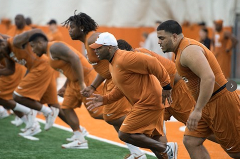 Photo: Charlie Strong Runs Sprints with Texas