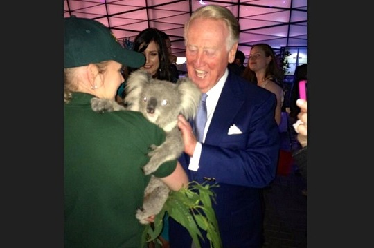 Vin Scully Meeting a Koala in Australia Takes Adorable to Legendary Levels