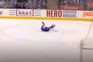 Maple Leafs Fan Finds His Way onto Ice, Proceeds to Slide Around