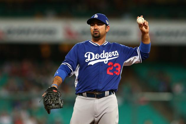 Adrian Gonzalez Leaves Australia Exhibition Game with Back Tightness