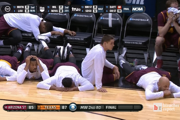 Arizona State's Bench Collapses onto Court After Texas Hits Buzzer-Beater