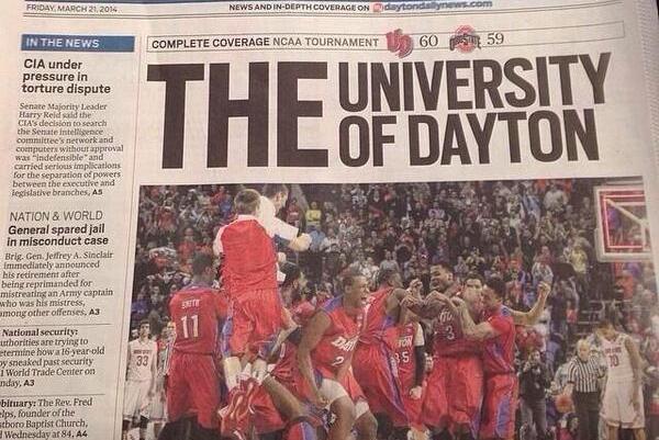 Dayton Newspaper Burns OSU with 'THE University of Dayton' Headline