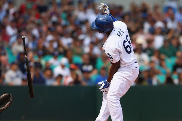 Watch: Yasiel Puig Bat Flips a Hit by Pitch