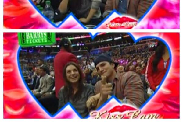 Mila Kunis and Ashton Kutcher Get on Kiss Cam at Los Angeles Clippers Game