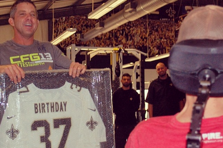 New Orleans Saints Coach Sean Payton Gives Birthday Jersey to Steve Gleason