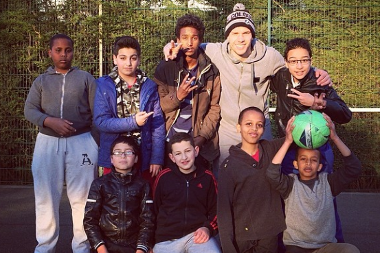 Lukas Podolski Plays Football at Local Park with Kids in London