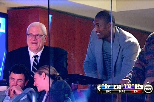 Phil Jackson, Metta World Peace Steal Show at LA Lakers-NY Knicks Game