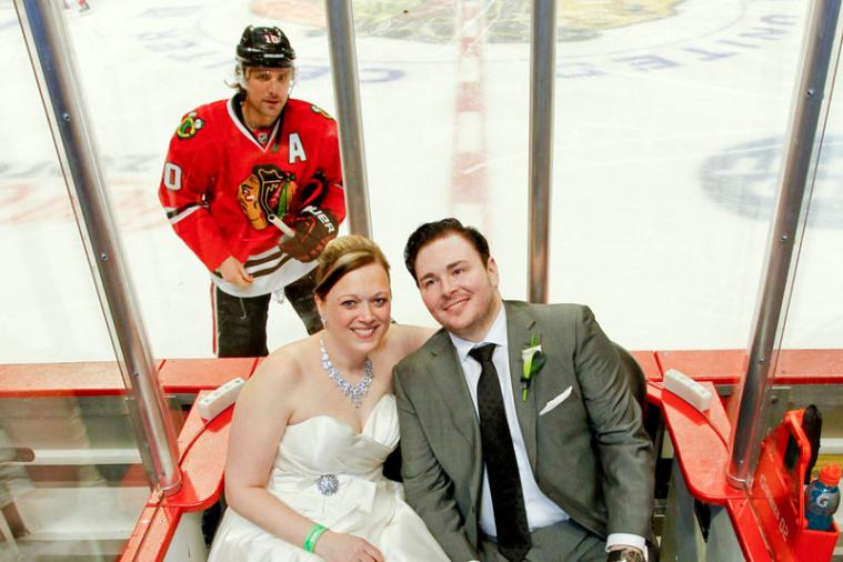 Patrick Sharp Appears in Couple's Blackhawk Wedding with Photobomb