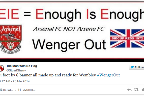 Arsenal Fan Designs 24'x8' 'Wenger Out' Banner for FA Cup Semi-Final at Wembley