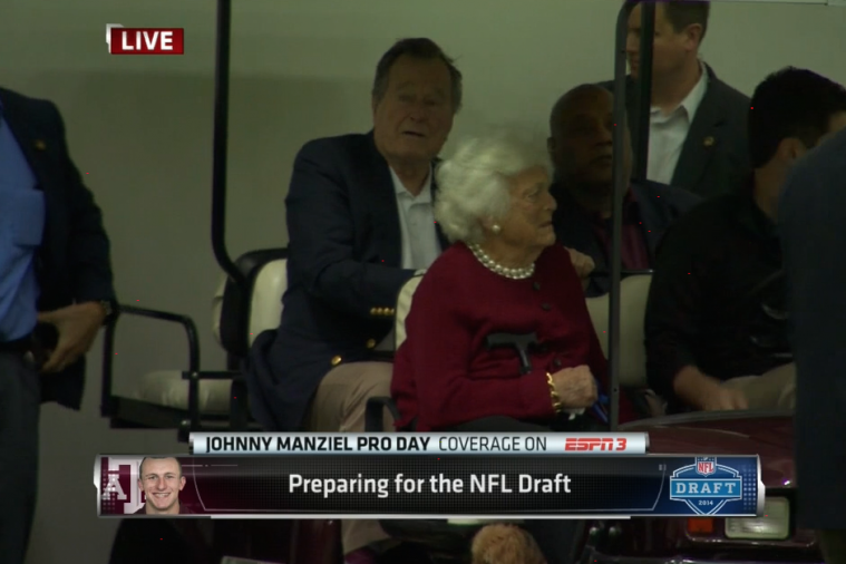 Former President George H.W. Bush Attends Johnny Manziel's Pro Day