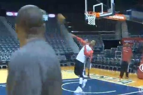 Trail Blazers' Thomas Robinson Drills Near Full-Court Shot During Practice