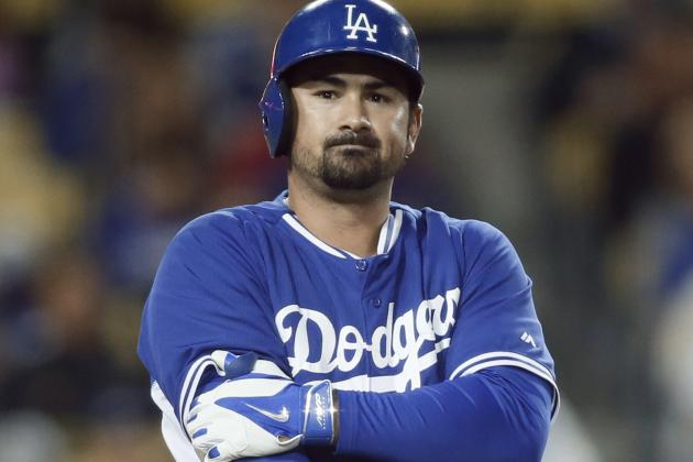 Adrian Gonzalez Hit on Elbow, Leaves Game as Precaution