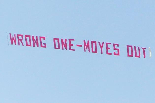 'Moyes Out' Banner Flies at Old Trafford During Manchester United-Aston Villa