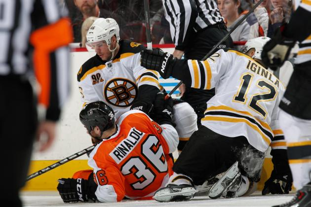 Watch: Zac Rinaldo Takes Out Two Bruins, Linesman with One Hit