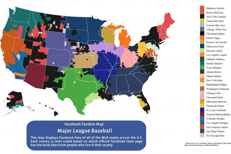 Facebook Map Shows County-by-County Breakdown of Most 'Liked' MLB Teams