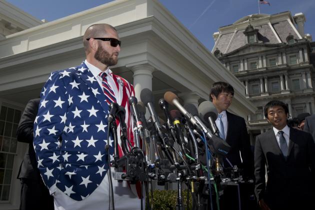 Jonny Gomes Rocks Patriotic Suit Jacket for Red Sox's White House Visit