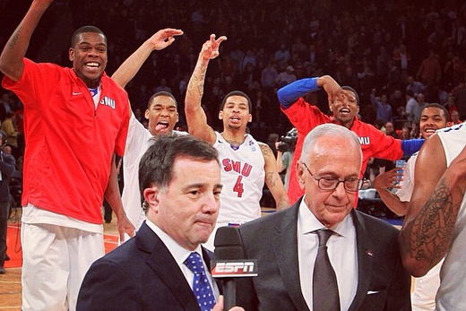 Photo: SMU's Larry Brown Photobombed by Players After NIT Win