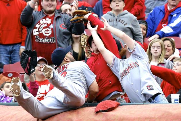 Cardinals' Matt Adams Shoves Reds Fan, Gets Flipped the Bird