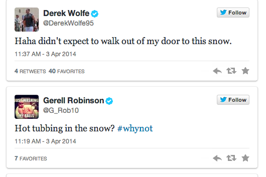 Broncos React to Snow Day on Twitter