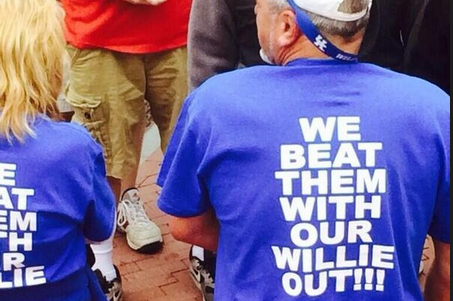 "UK Fans Wearing ""We Beat Them with Our Willie Out"" T-Shirts"